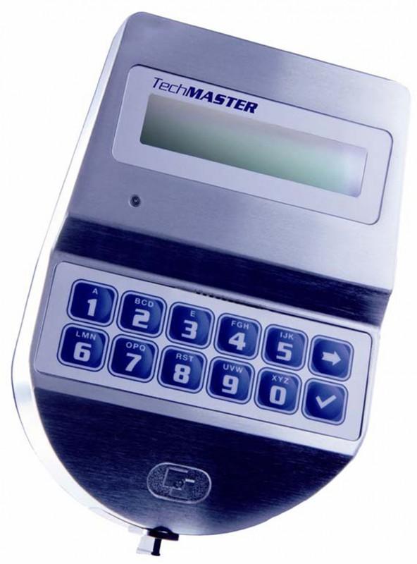 T9530 Teclado TechMaster em metal cromado. Display 16x2.